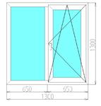 Окно двухстворчатое в панельный дом (3-камерный профиль)