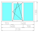 Окно трехстворчатое в панельный дом (3-камерный профиль)