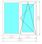 Окно двухстворчатое в кирпичный дом (3-камерный профиль)