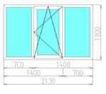 Окно трехстворчатое в кирпичный дом (5-камерный профиль)
